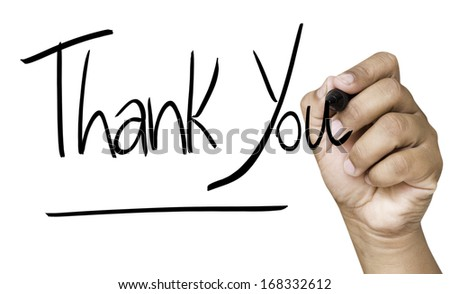 Thank You hand writing with black mark on a transparent board - stock photo