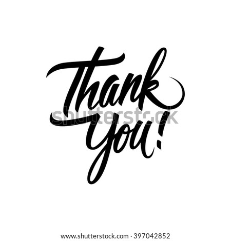 Thank You handwritten inscription. Hand drawn lettering. Thank You calligraphy. Thank You card.  - stock photo