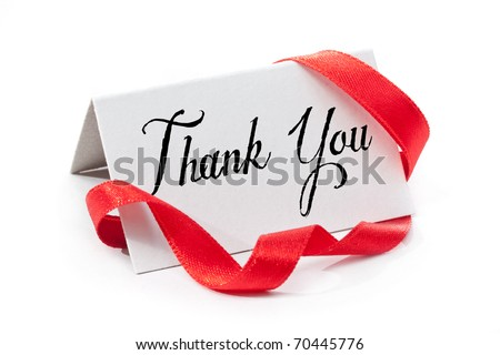 Thank you, handwritten label, isolated in white - stock photo