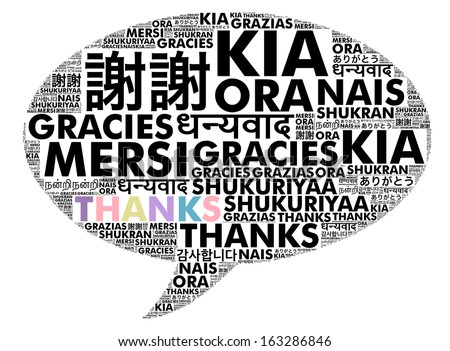 Thank you in foreign languages composed in the bubble speech shape - stock photo