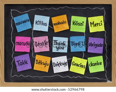 Thank you in sixteen languages - colorful sticky notes on blackboard with white chalk smudges - stock photo