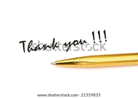 Thank you message and pen isolated on white - stock photo