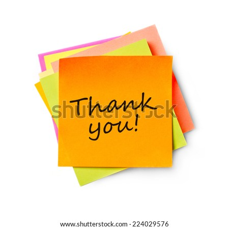 Thank you on adhesive note Adhesive note on white background - stock photo