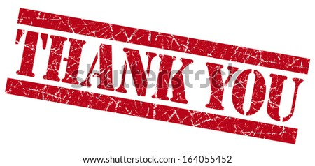 Thank you red grunge stamp - stock photo