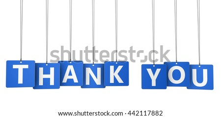 Thank you sign and word on blue paper tags 3d illustration isolated on white.