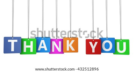 Thank you sign and word on colorful paper tags for thanks giving message 3d illustration isolated on white.