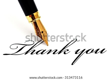 Thank you text and fountain pen - stock photo