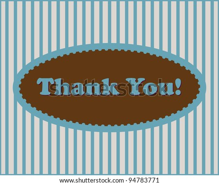 Thank You  - Thank You text in oval frame on stripped background - stock photo