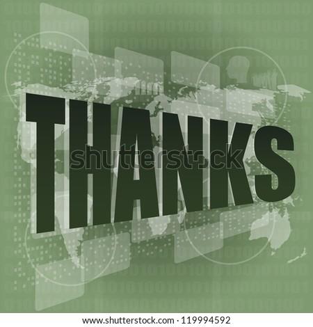 Thank you - thanks word on digital screen - social, raster - stock photo