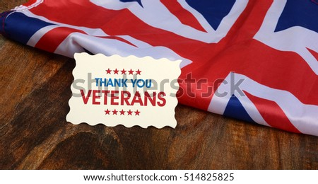 Thank you veterans greeting card uk stock photo royalty free thank you veterans greeting card for uk remembrance day flag m4hsunfo