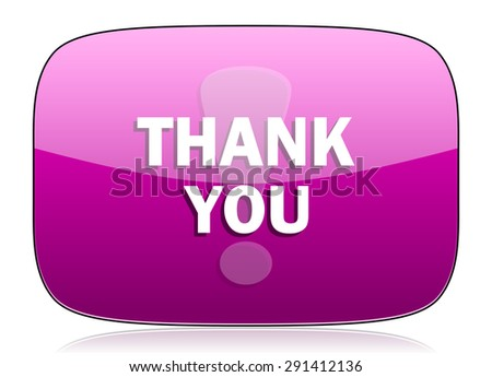 thank you violet icon  original modern design for web and mobile app on white background with reflection  - stock photo