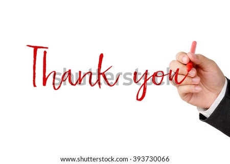 Thank you word and businessman hand holding pen on white background, business concept - stock photo