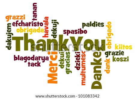 Thank You Word Cloud in different languages - stock photo