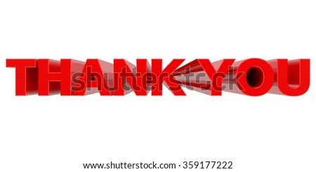 THANK YOU word on white background 3d rendering - stock photo