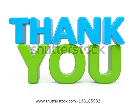 Thank You word over white. render - stock photo