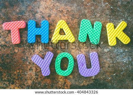 Thank you  words in vintage on stone  background - stock photo