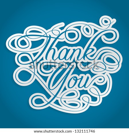thank you words with swirls - stock photo