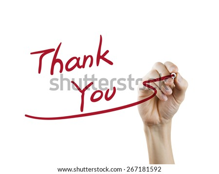 thank you words written by hand on a transparent board - stock photo
