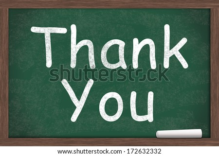 Thank You written on a chalkboard with a piece of white chalk - stock photo