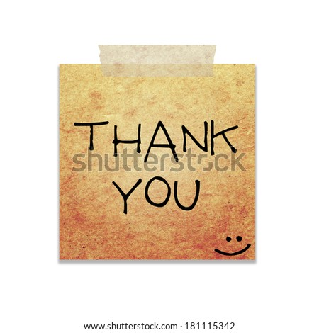 thank you written on piece of paper, isolated - stock photo