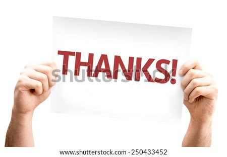 Thanks! card isolated on white background - stock photo