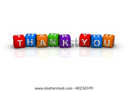 thanks (colorful cubes words series) - stock photo
