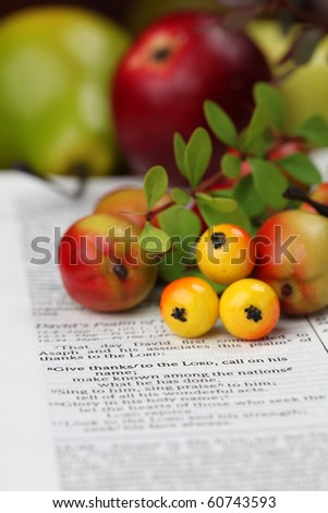 Thanksgiving arrangement with the Bible open at 1 Chronicles 16:8 - stock photo