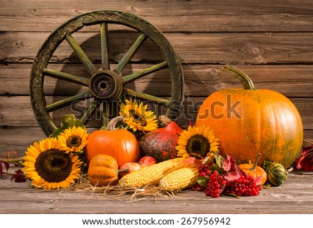 Thanksgiving autumnal still life with old wooden wheel - stock photo