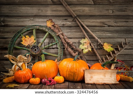 Thanksgiving autumnal still life with pumpkins and old wooden wheel - stock photo