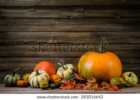 Thanksgiving day autumnal still life with pumpkins on old wooden - stock photo