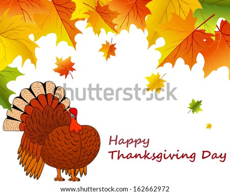 Thanksgiving Day background with maple leave - stock photo
