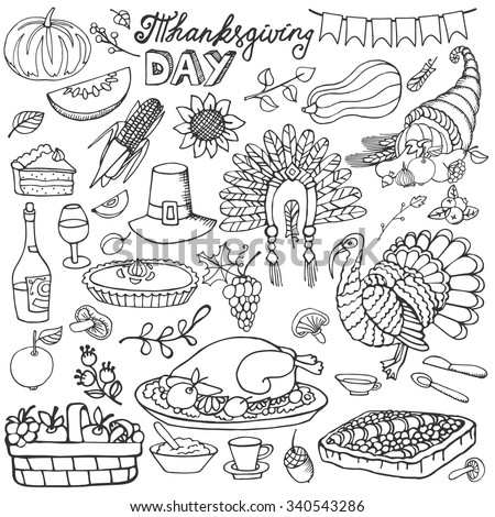 Thanksgiving day icons,doodle set.Autumn harvest decor elements.Hand drawing holiday symbols. Linear vintage illustration.