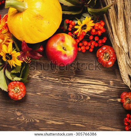 Thanksgiving day or halloween greeting card. Autumn or harvest concept: wheat, vegetables, fruits, berries and flowers on wooden brown table. Selective focus. Toned square image. Space for text - stock photo