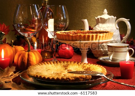 Thanksgiving desserts on a festive table - stock photo