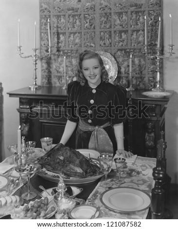 Thanksgiving hostess - stock photo