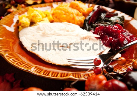 Thanksgiving meal of sliced turkey breast, Swiss chard, mashed sweet potato, stuffing and cranberry sauce - stock photo
