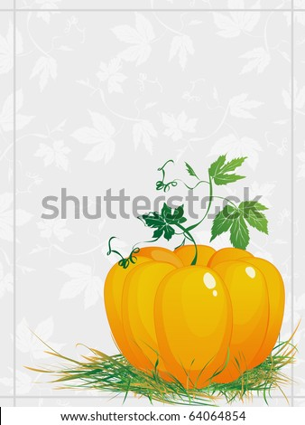 Thanksgiving, ripe  pumpkin  with green leaves and grass, greeting card - stock photo