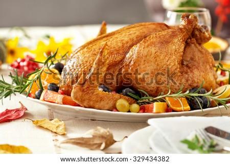 Thanksgiving Roast Turkey Dinner - stock photo