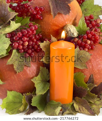 Thanksgiving still life, orange candle with red viburnum berries and pumpkins - stock photo