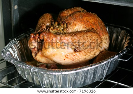 Thanksgiving Turkey in Oven - stock photo