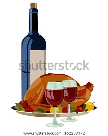 Thanksgiving Turkey with Fruits and Vino. Isolated Raster Illustration. - stock photo