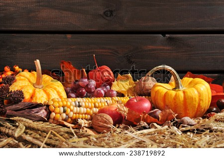 Thanksgiving - vegetable and fruits on straw in front of old weathered wooden boards with copyspace - stock photo