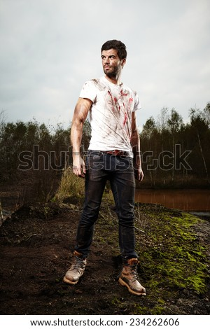 That fight was bloody - stock photo