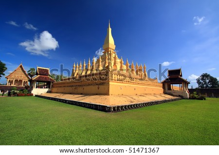 That-Luang Stupa,Viangchan City,Laos - stock photo