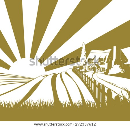Thatched cottage farm field landscape concept illustration with rolling hills and sunrise - stock photo