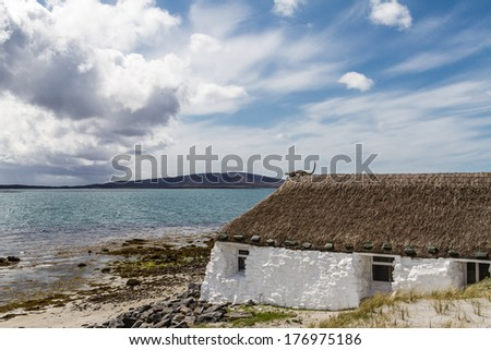 Thatched cottage on Uist, Outer Hebrides, Scotland