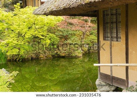 Thatched roof of the house by the shore in Kyoto. - stock photo