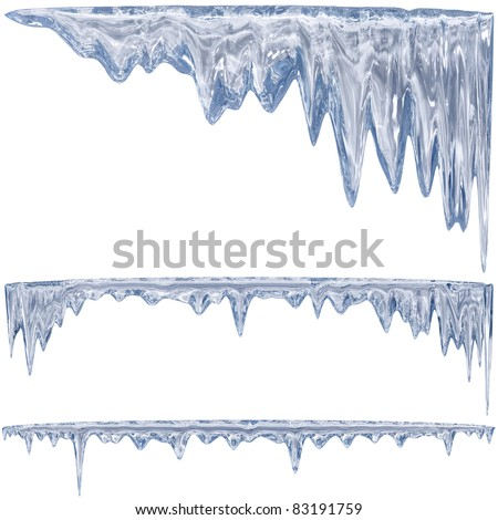 Thawing icicles of a blue shade - stock photo