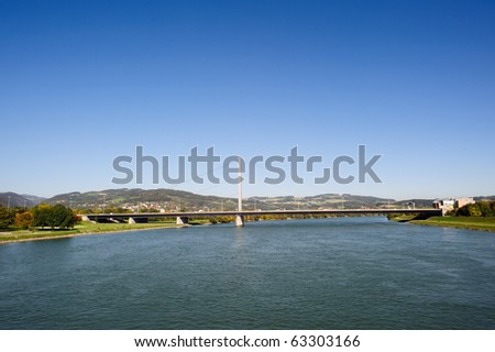 The A7 Highway Bridge in Linz, Austria, crossing the Blue Danube river - stock photo