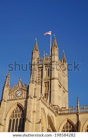 The Abbey Church of Saint Peter and Saint Paul in Bath, also known as Bath Abbey, seen during early in the evening